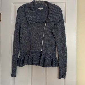 NY&Co Blue Gray collared side-zip sweater ruffle S